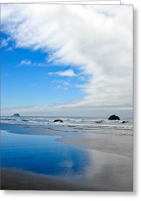 Surf City Greeting Cards - Blue Skies At The Oregon Coast Greeting Card by Athena Mckinzie