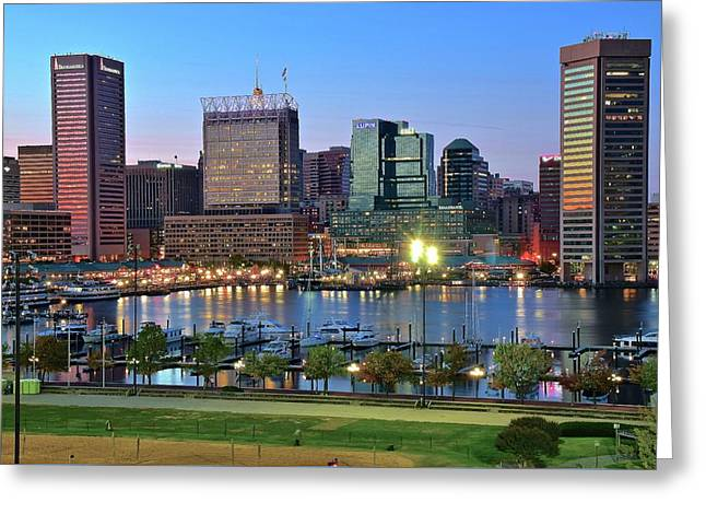 Blue Skies In Baltimore Greeting Card by Frozen in Time Fine Art Photography
