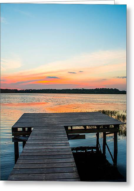 Wooden Dock Greeting Cards - Blue Skies Greeting Card by Shelby  Young