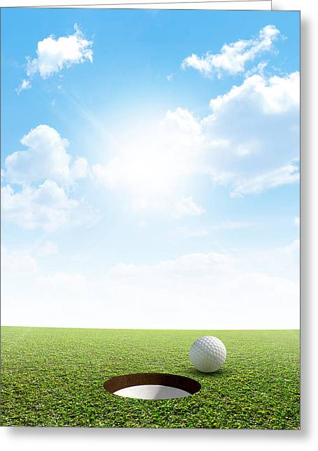 Sink Holes Greeting Cards - Blue Sky And Putting Green Greeting Card by Allan Swart