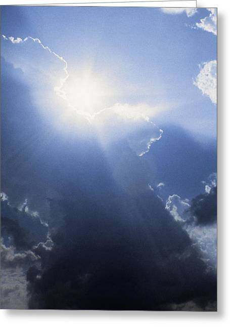 Aerial View Greeting Cards - Blue Sky And Sunbeams Greeting Card by Gillham Studios
