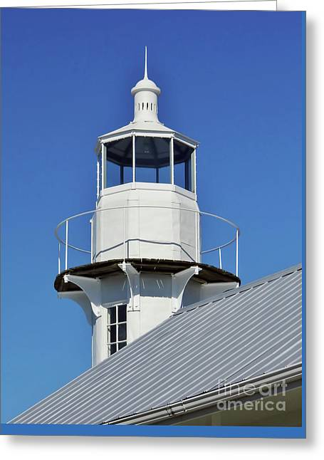 Cedar Key Greeting Cards - Blue Sky At The Lighthouse Greeting Card by D Hackett