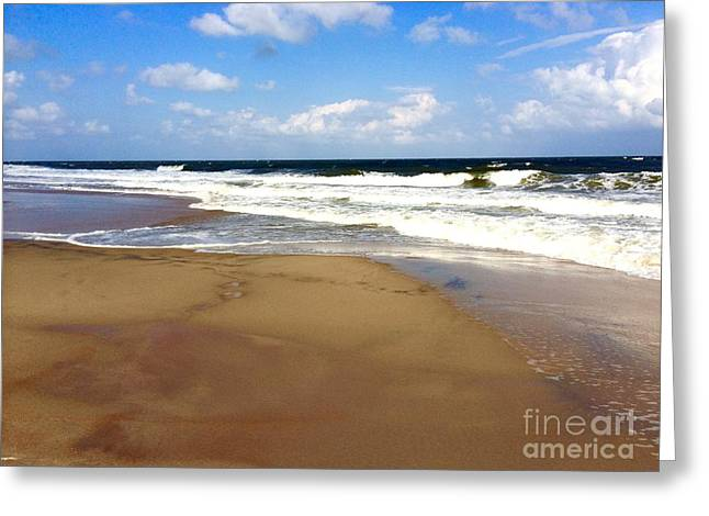 Surf City Greeting Cards - Blue Sky day at the Beach Greeting Card by Doug Swanson