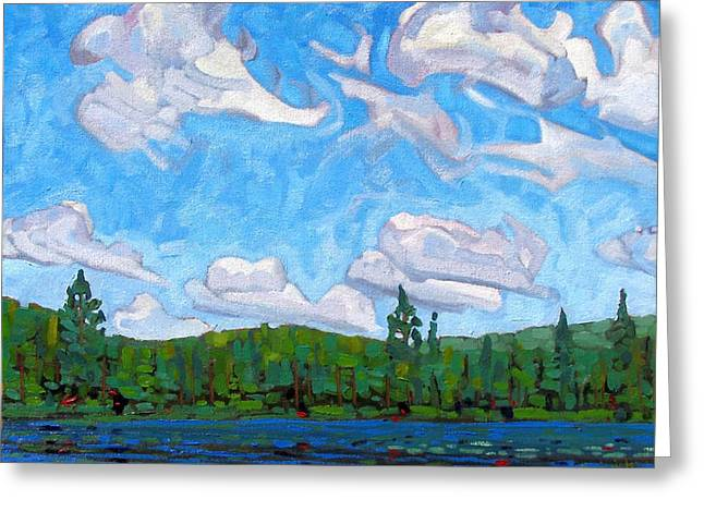 Blue Sky Lake Greeting Card by Phil Chadwick