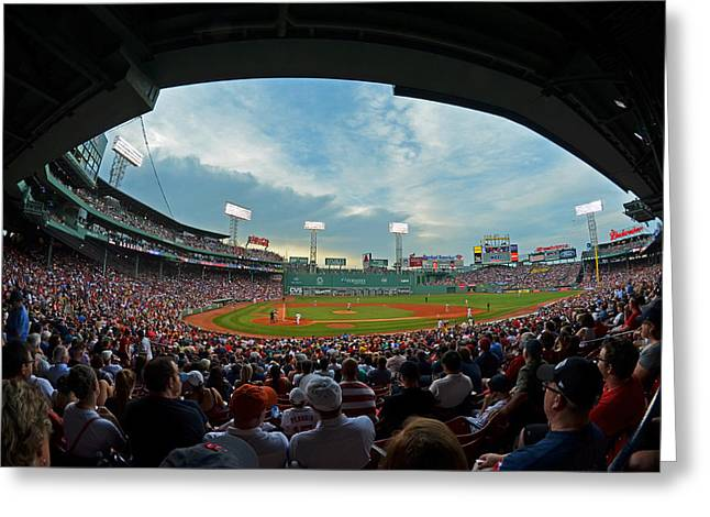 Fenway Park Greeting Cards - Blue sky over Fenway Park Fisheye Greeting Card by Toby McGuire