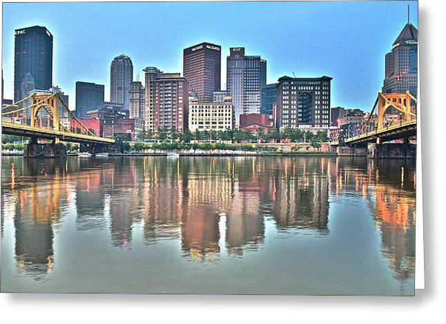 Blue Sky Reflecting Water Greeting Card by Frozen in Time Fine Art Photography