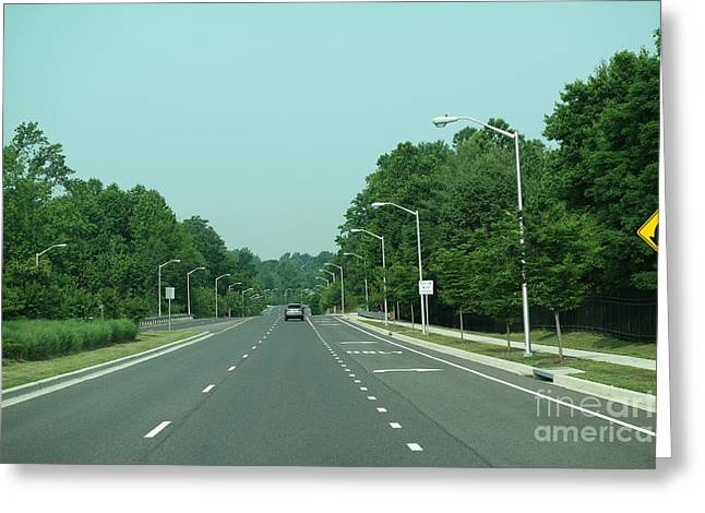 Blue Sky Roadway Greeting Card by Ange's Photography
