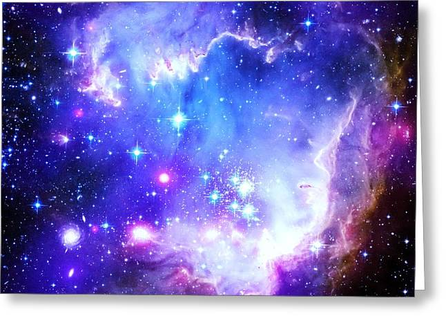 Intergalactic Space Greeting Cards - Blue Space Greeting Card by Johari Smith