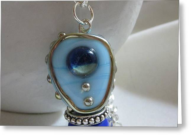 Blue Space Necklace Greeting Card by Janet  Telander