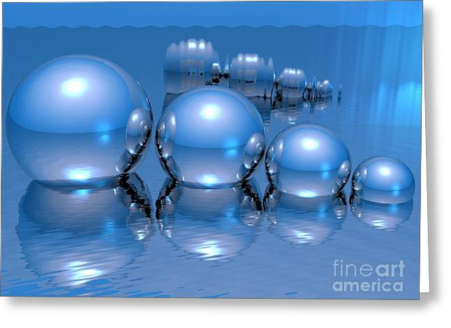 Reflecting Water Greeting Cards - Blue Spheres Greeting Card by Jason Leader