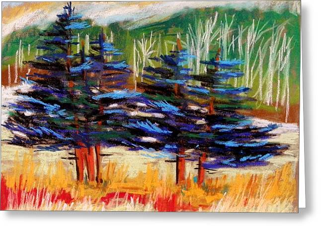 Vibrant Pastels Greeting Cards - Blue Spruce Stand Greeting Card by John  Williams