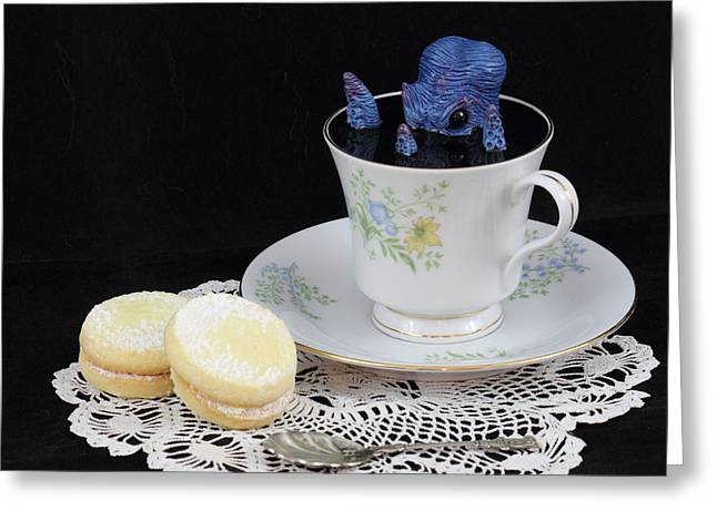 Awesome Sculptures Greeting Cards - Blue Squid in a Teacup Greeting Card by Voodoo Delicious