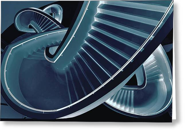 Staircase Greeting Cards - Blue Stair Greeting Card by Henk Van Maastricht