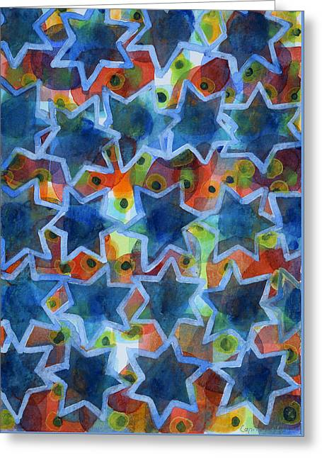Abstract Shapes Greeting Cards - Blue Stars Greeting Card by Heidi Capitaine