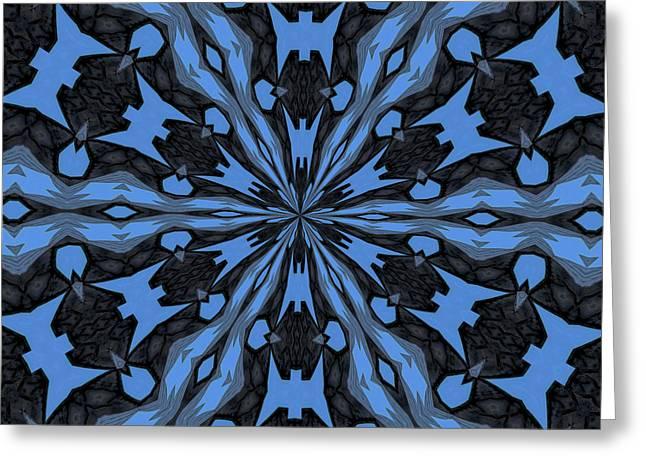 Geometric Style Greeting Cards - Blue Steel and Black Geometric Kaleidoscope Greeting Card by Tracey Harrington-Simpson