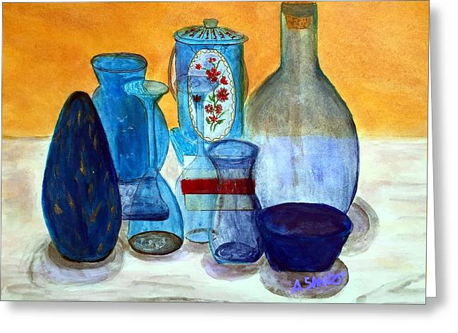 Glass Vase Greeting Cards - Blue still life Greeting Card by Anne Sands