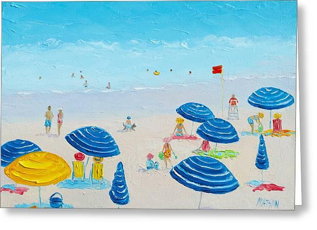 Blue Striped Umbrellas Greeting Card by Jan Matson