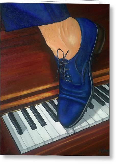 And Jerry Lee Lewis Greeting Cards - Blue Suede Shoes Greeting Card by Marlyn Boyd