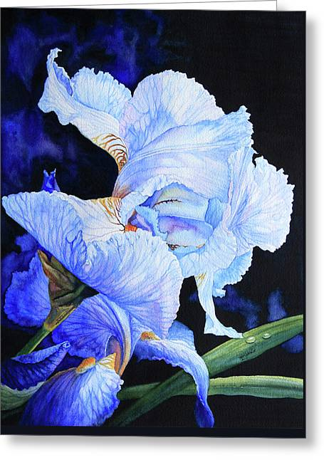 Flower Pictures Greeting Cards - Blue Summer Iris Greeting Card by Hanne Lore Koehler