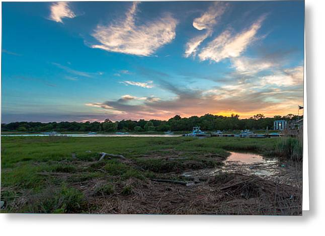 Boston Ma Greeting Cards - Blue Sunset Greeting Card by Brian MacLean