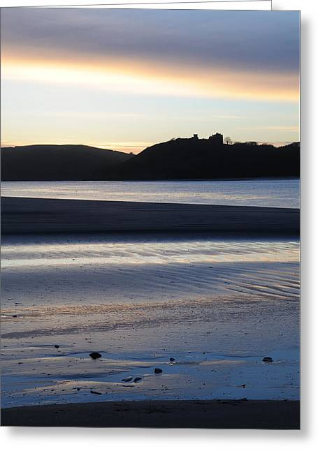 Sand Castles Greeting Cards - Blue sunset over the castle Greeting Card by Ken Day