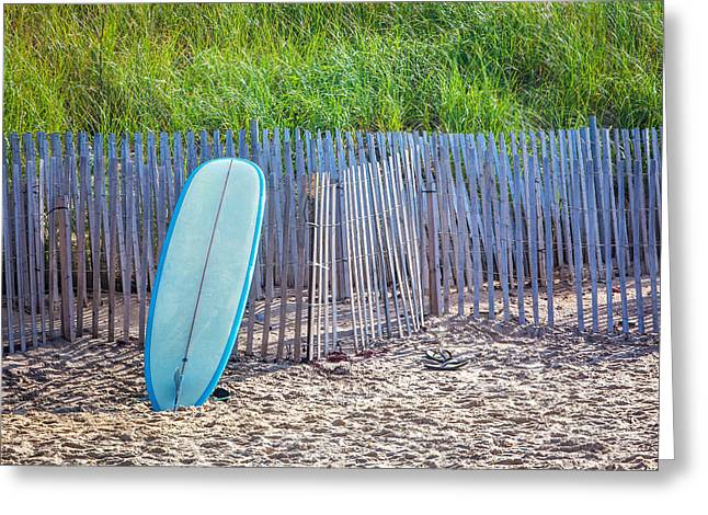Sand Fences Photographs Greeting Cards - Blue Surfboard at Montauk Greeting Card by Art Block Collections