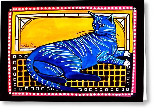 Blue Tabby - Cat Art By Dora Hathazi Mendes Greeting Card by Dora Hathazi Mendes