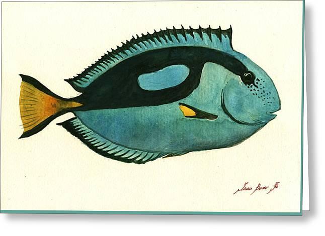Blue Tang Fish Greeting Card by Juan Bosco