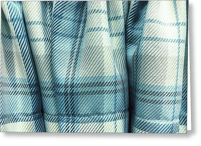 Blue Tartan Fabric Greeting Card by Tom Gowanlock