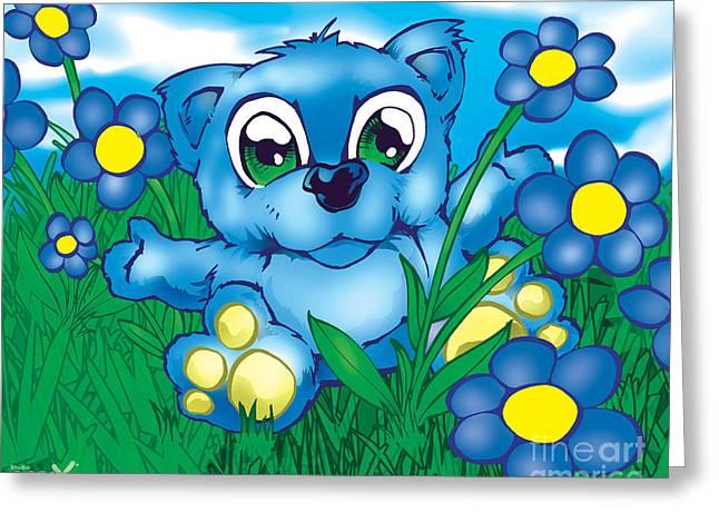 Powder Greeting Cards - Blue Teddy Bear Greeting Card by Hanan Evyasaf