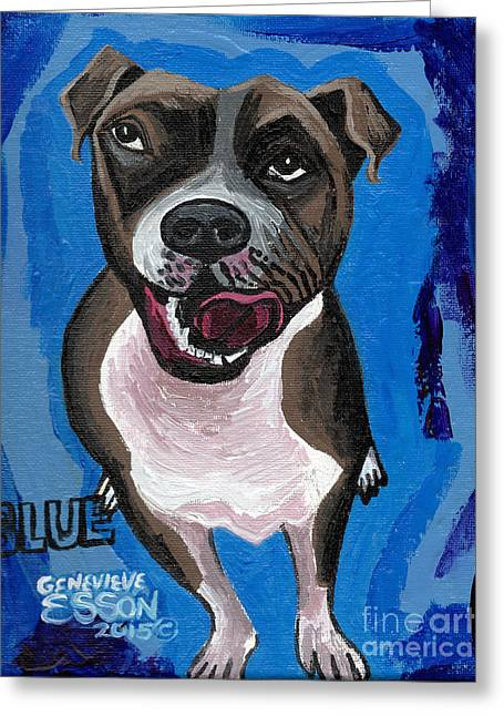 Animals Love Greeting Cards - Blue The Pit Bull Terrier Greeting Card by Genevieve Esson
