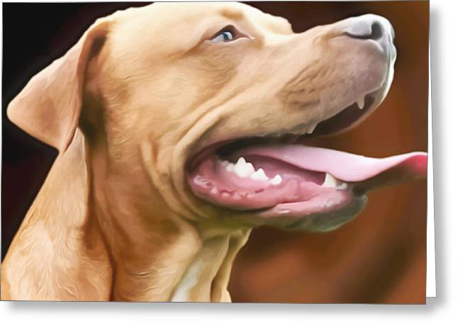 Panting Dog Greeting Cards - Blue The Rhodesian Greeting Card by I F Abbie Shores