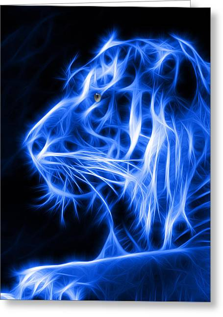 Glowing Eyes Greeting Cards - Blue Tiger Greeting Card by Shane Bechler