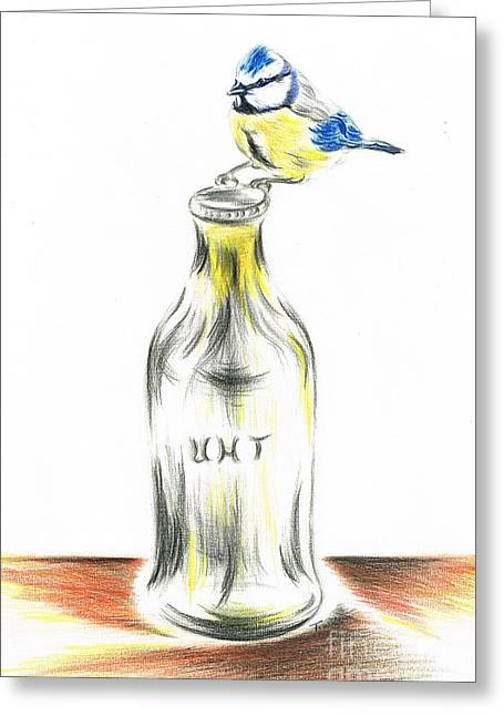 Pecking Drawings Greeting Cards - Blue tit loves the cream Greeting Card by Teresa White