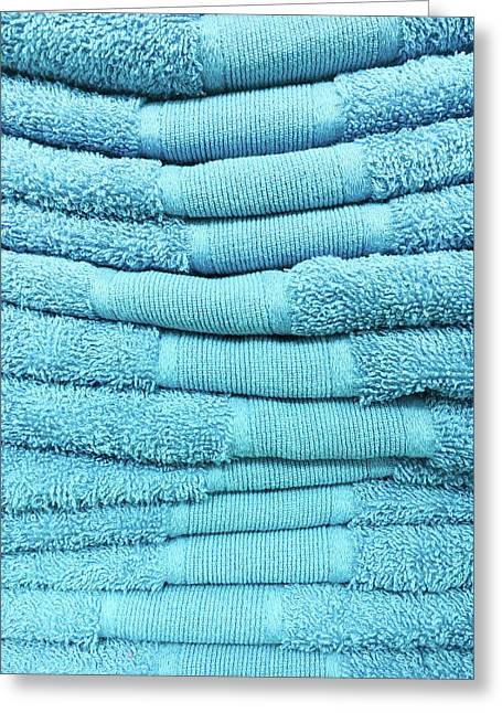 Blue Towels Greeting Card by Tom Gowanlock