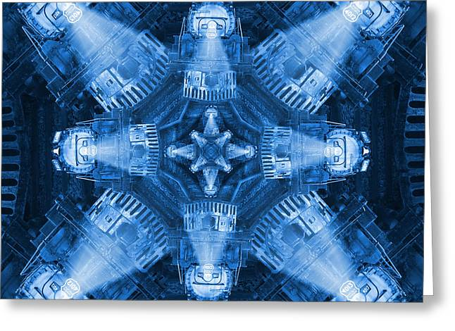 Blue Train Abstract 4 Greeting Card by Mike McGlothlen