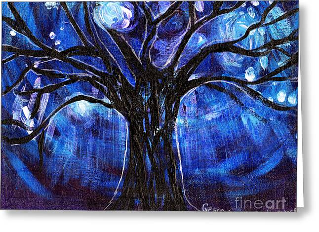 Blue Tree At Night Greeting Card by Genevieve Esson