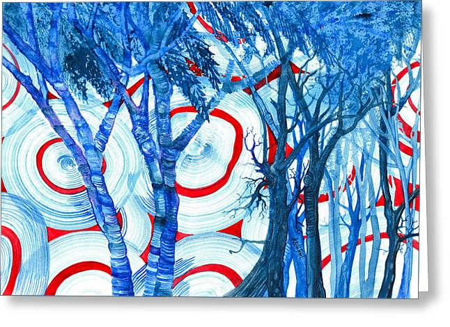 Surreal Landscape Greeting Cards - Blue Trees and Core Samples Greeting Card by Adria Trail