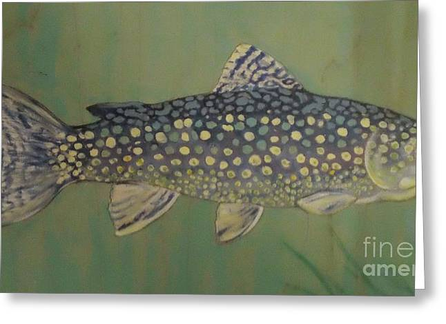 Salmon Paintings Greeting Cards - Blue trout Greeting Card by Maria Elena Gonzalez