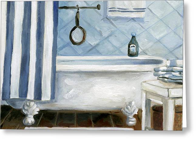Shower Curtain Greeting Cards - Blue Tub Greeting Card by Carol Robinson