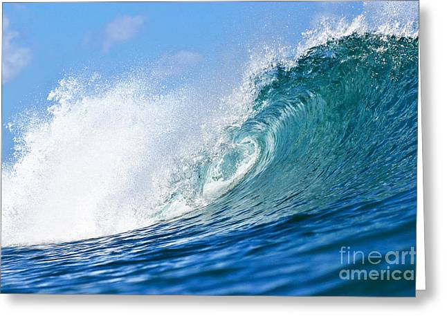 Best Sellers -  - Surfing Photos Greeting Cards - Blue Tube Wave Greeting Card by Paul Topp