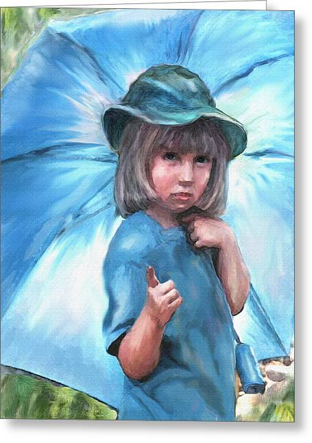 Pout Greeting Cards - Blue Umbrella Greeting Card by Jane Schnetlage