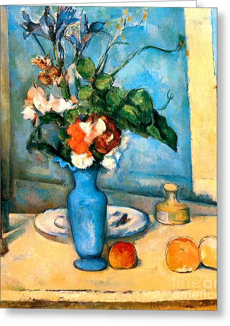 Still Life With Pitcher Paintings Greeting Cards - Blue Vase by Paul Cezanne Greeting Card by Pg Reproductions