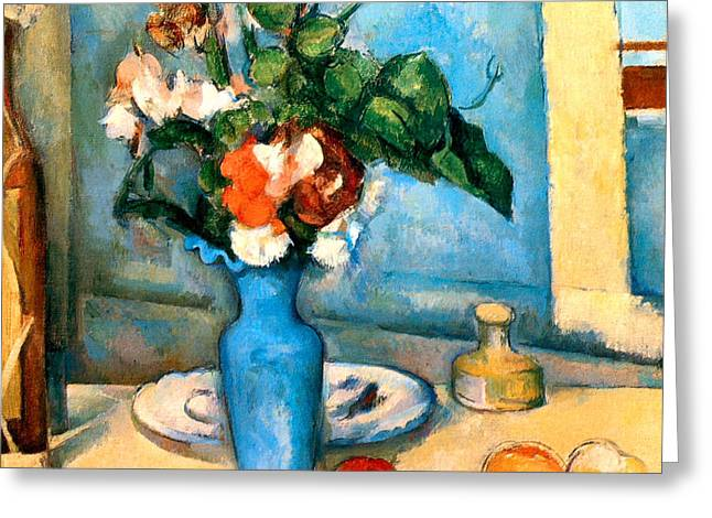 Blue Vase by Paul Cezanne Greeting Card by PG REPRODUCTIONS