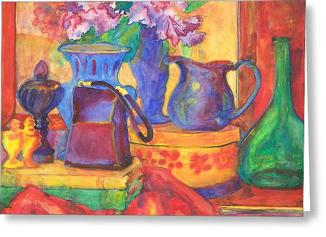 Pitcher Paintings Greeting Cards - Blue Velvet Greeting Card by Blenda Studio
