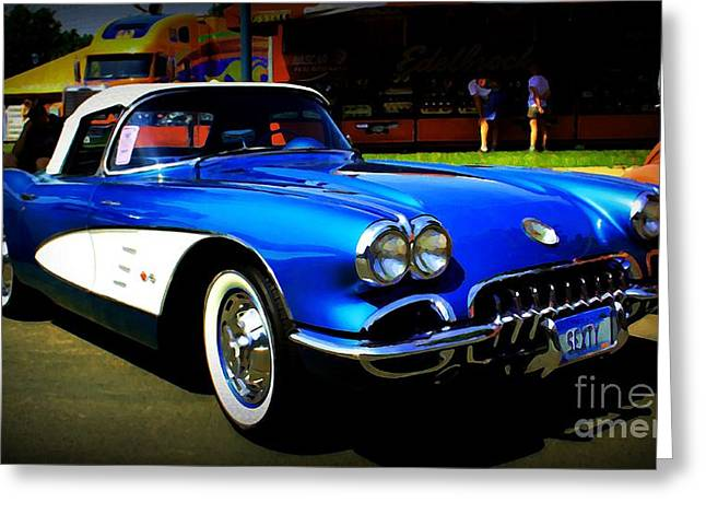 Chrome Grill Greeting Cards - Blue Vette Dreams Greeting Card by Perry Webster