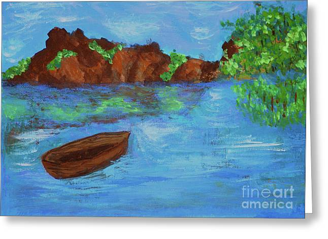 Original Paining Greeting Cards - Blue view Greeting Card by Carol Lynch