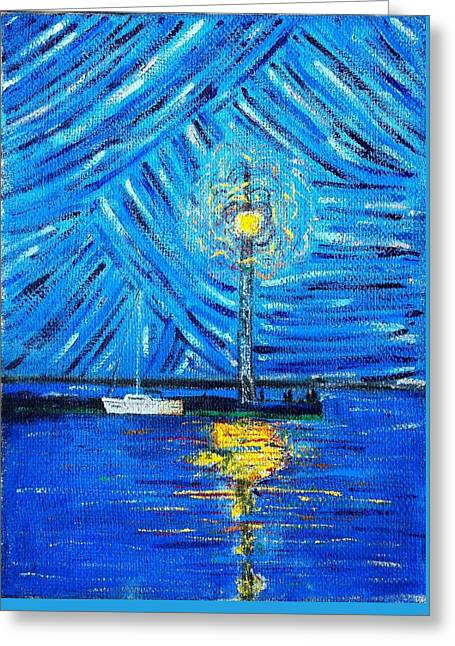 People Paintings Greeting Cards - Blue view  Greeting Card by Martynas Ivinskas