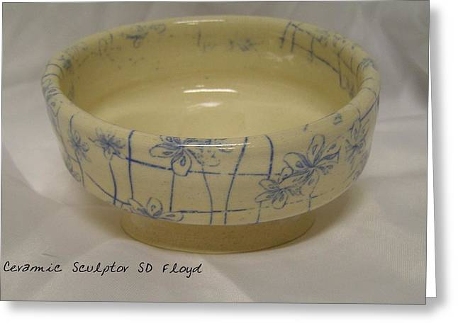 Ceramic Ceramics Greeting Cards - Blue Vines Bowl Greeting Card by Sandi Floyd