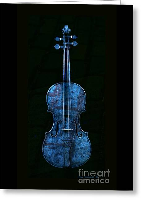 Overture Greeting Cards - Blue Violin Greeting Card by John Stephens